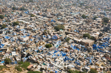 Old cityscape with many colorful houses of cute indian city Jodhpur of Rajasthan, India