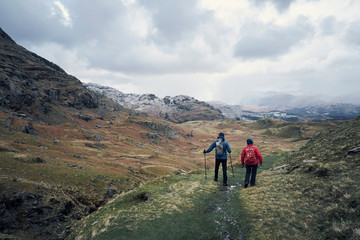 Hikers on mountain, Coniston, Cumbria, United Kingdom
