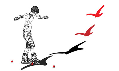 roller skates person with shadow pass into a bird