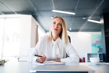 Wall Mural - Businesswoman at the desk with notebook in her office.