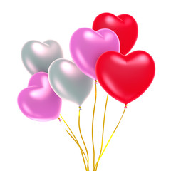 Colorful heart shape balloons isolated on white background, 3D rendering