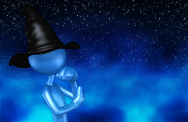 The Original Wizard 3D Character Illustration In Thought