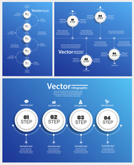 Collection of abstract Infographic design on blue backgraund. Can be used for workflow layout, diagram, business step options, banner, web design. Vector eps10 business template for presentation