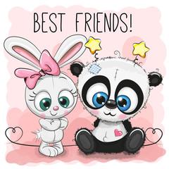 Cute Panda and rabbit girl