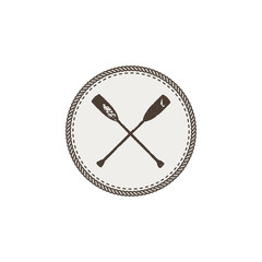 crossed paddles icon patch and sticker. Vintage hand drawn outdoor adventure design. Canoe and kayak symbol. Camping icon. Stock vector isolated on white background