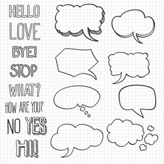 Hand drawn emotional phrases and speech bubbles on notebook backdrop