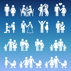 Young family life pictograms - white parents and kids icons