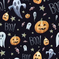Watercolor seamless pattern of scary and little ghost, pumpkins,word BOO! and candy. Cheerful and awesome traditional background for Halloween.
