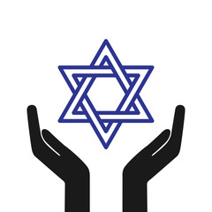 Hands holding Star of David. Star of David symbol of Israel. Vector stock.