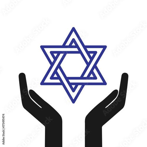 Hands Holding Star Of David Star Of David Symbol Of Israel Vector
