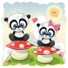 Two Cartoon pandas are sitting on mushrooms