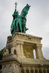Closeup below statue of King Saint Stephen I on horse in Budapest
