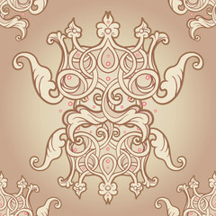 Seamless pattern design with crowns and hearts in medieval style. Ornate Royal repetition background. Wrapping paper, wallpapers. Vector illustration. Detailed textile design.