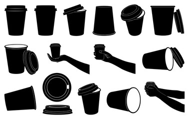 Set of different paper cups for coffee or tea isolated on white