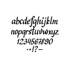 Vector hand-written italic alphabet. Lowercase, figures and punctuation marks