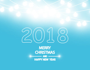Merry Christmas and New Year 2018 typographical on holidays background with winter landscape with garland. Vector.