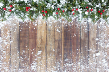 Christmas Border with Fir, Red Berries and Snow