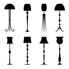 Silhouettes of floor lamps isolated on white background. Stencils of lamps.