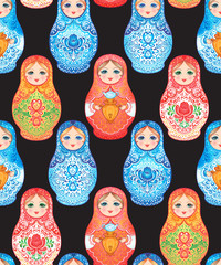 Babushka (matryoshka) seamless pattern. Traditional Russian wooden nesting doll with painted flowers. Folk arts and crafts. Vector illustration in cartoon style. Souvenir from Russia