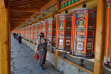 The life around Labrang in Xiahe, Amdo Tibet, China. Pilgrims are everywhere, circumabulating the monastery