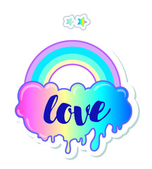 Equal love. Inspirational Gay Pride poster with rainbow and cloud. spectrum colors. Homosexuality emblem. LGBT rights concept. Sticker, patch, poster graphic design.