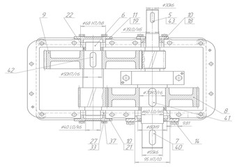 Machine-building drawings on a white background