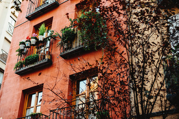 Red facade of Madrid