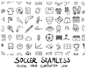 soccer doodle sketch background pattern seamless vector ink eps10
