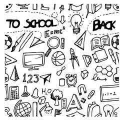 back to school doodle background seamless sketch vector ink eps10