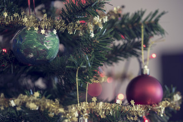 Christmas tree decorated with traditional ornaments