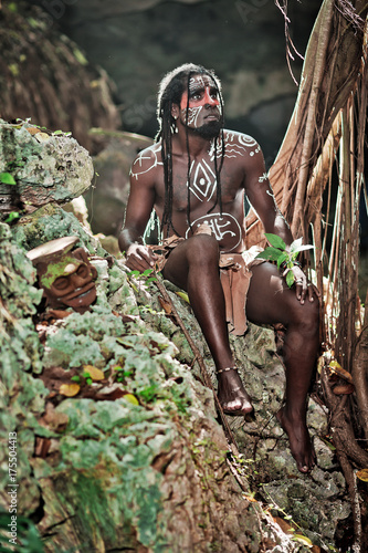 Black Man With Dreadlocks In The Image Of The Taino Indian In