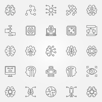 Artificial intelligence icons set. Vector robot, brain and other