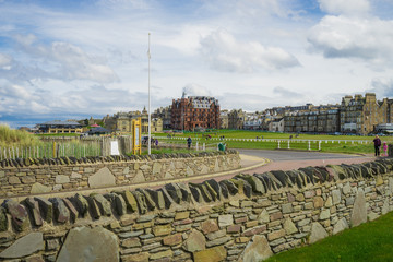 18th hole and R&A at Old Course at St Andrews, Scotland