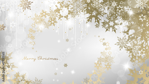 christmas background with snowflakes and simple merry christmas text white version