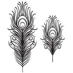 Set of two isolated feathers. Retro hand drawn vector illustration. Art deco style. Vector. Roaring 1920's design. Jazz era inspired . 20's. Vintage Temporary tattoo design, textile