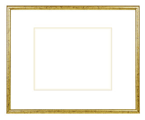 Golden glossy picture frame on white