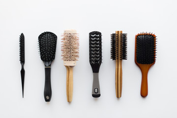 different hair brushes or combs from top