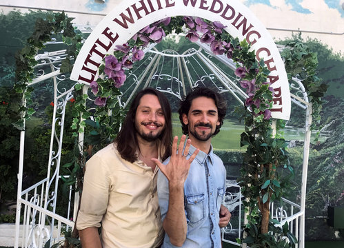 Carpio and Aznar from Barcelona pose following their wedding at A Little White Wedding Chapel in Las Vegas
