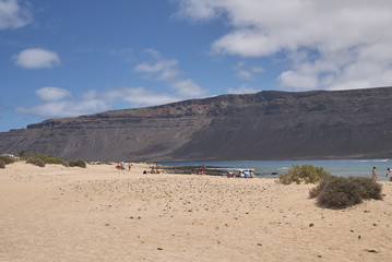 "Lanzarote, Spain - August 26, 2015 : ""Playa del salado"" beach in La Graciosa island"