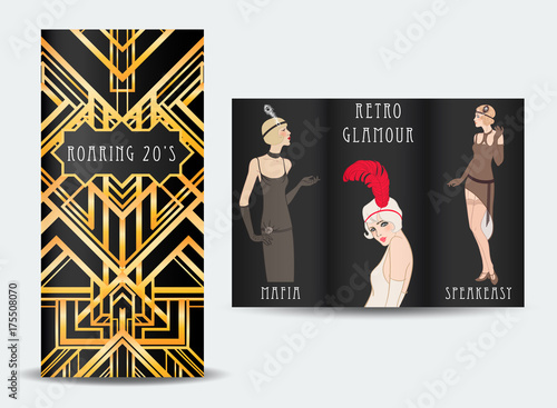 Art Deco vintage invitation template design with illustration of ...