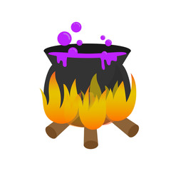 Halloween magic pot with purple poison or potion  design element as sign and symbol for decoration