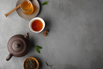 Food background with tea pot