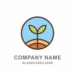 Organic Herbal Plant Green Leaf Nature Farm Vegetables Agriculture Business Company Stock Vector Logo Design Template