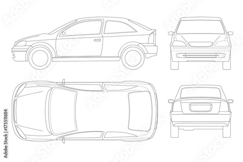 Sedan Car in lines  Isolated car, template for car branding