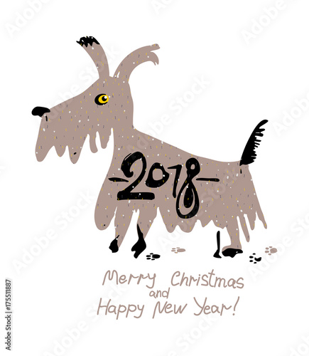 Hand drawn funny dog. 2018. Merry Christmas and Happy New Year ...