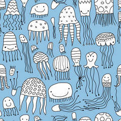 Funny jellyfishes, seamless pattern for your design