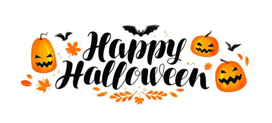 Happy Halloween banner. Handwritten lettering, calligraphy vector illustration