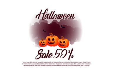 Halloween banners sale in Flat modern style. Colorful template for sales. Halloween sale banners with pumpkins.