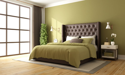 Classic brown and green bedroom