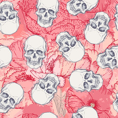 Human skull with peony, rose and poppy flowers on watercolor background.Seamless pattern design. Vector illustration.
